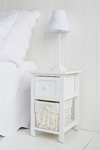Bar harbor small white bedside table 25cm wide The White Lighthouse Bedroom furniture