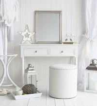 New England white dressing table with drawers and silver ...