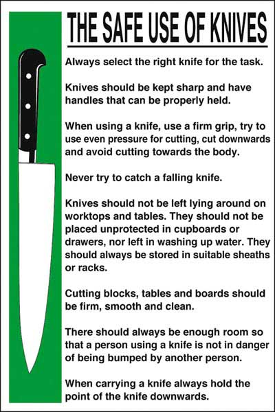 Shop by Category :: Catering :: Accessories :: Sign - Safe Use of Knives