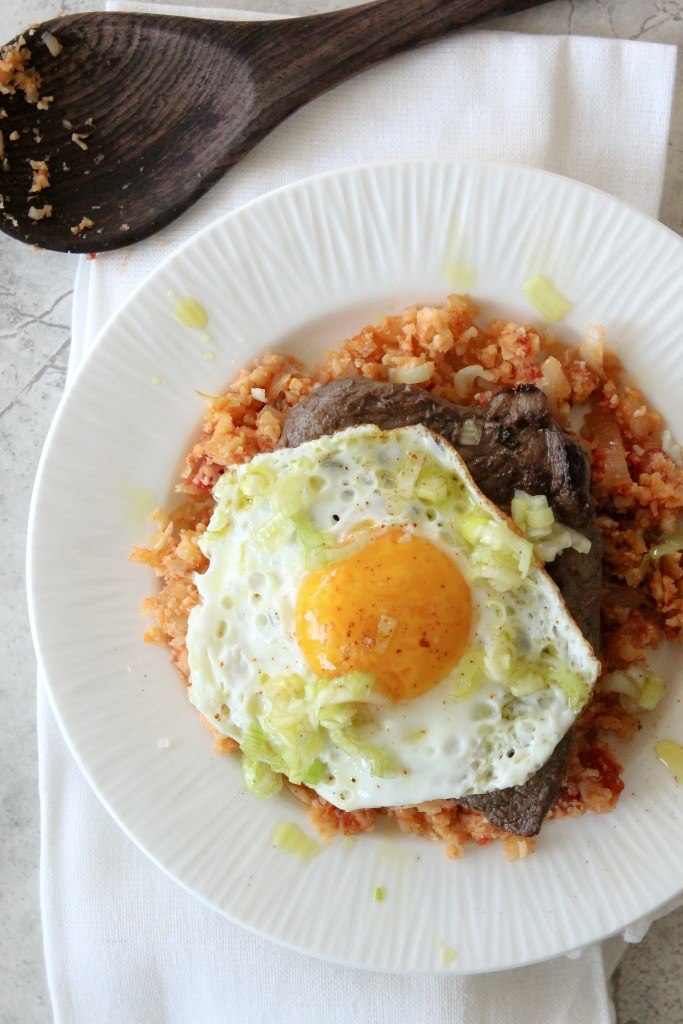 Delicious Steak and Eggs with Tomato Cauliflower Rice courtesy of SunBasket. Paleo, Whole30 and Gluten Free