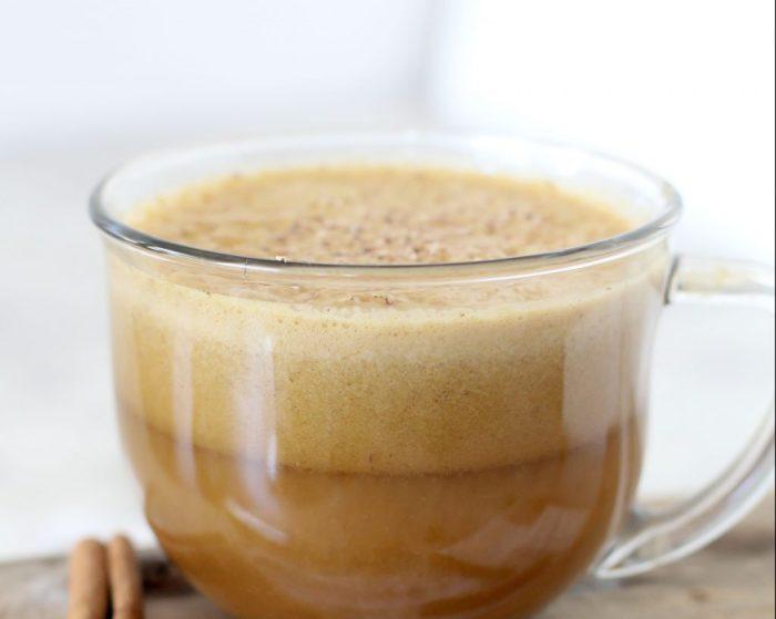 close-up of a mug of homemade better-than-starbucks paleo pumpkin spice latte