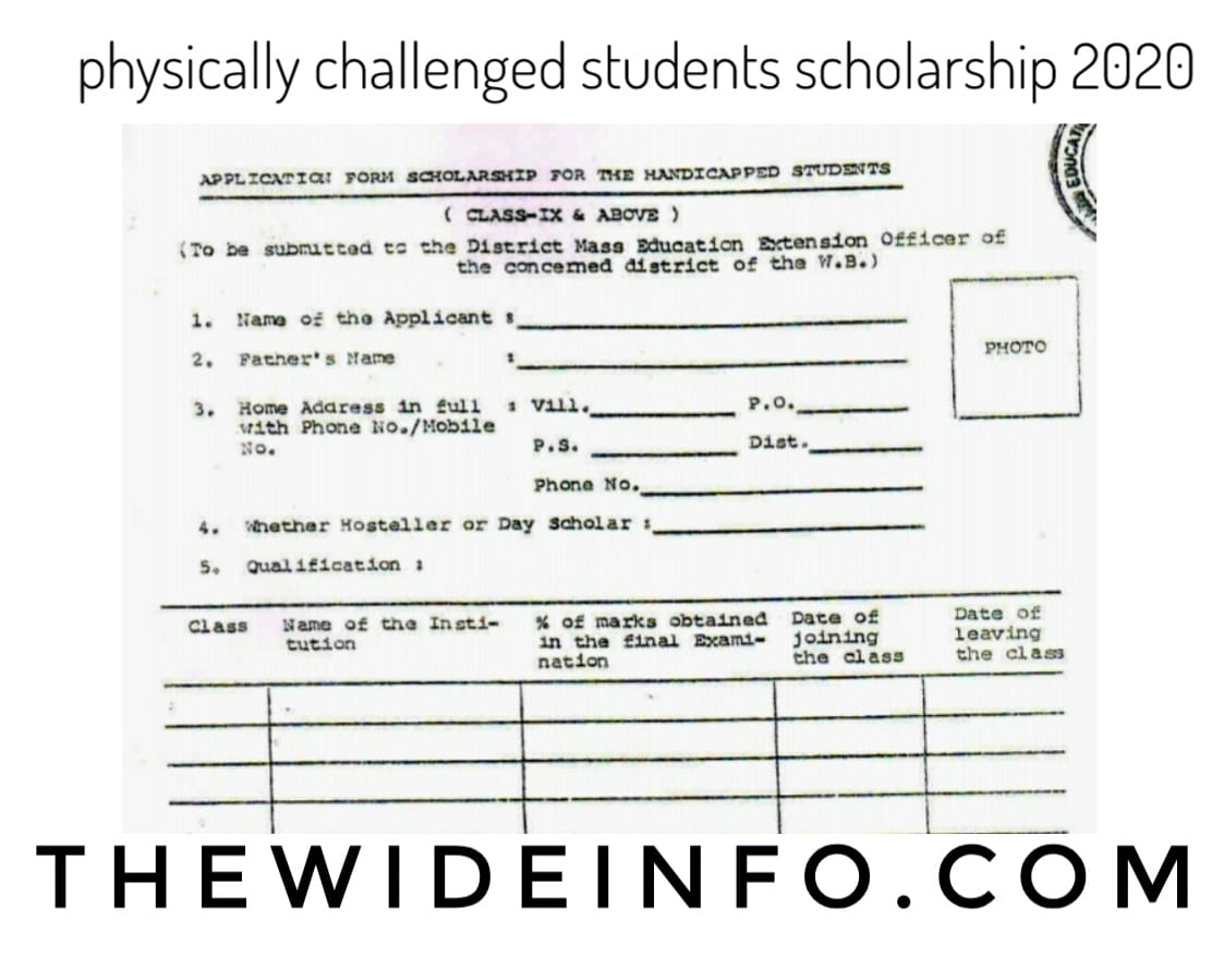 Physically challenged students scholarship