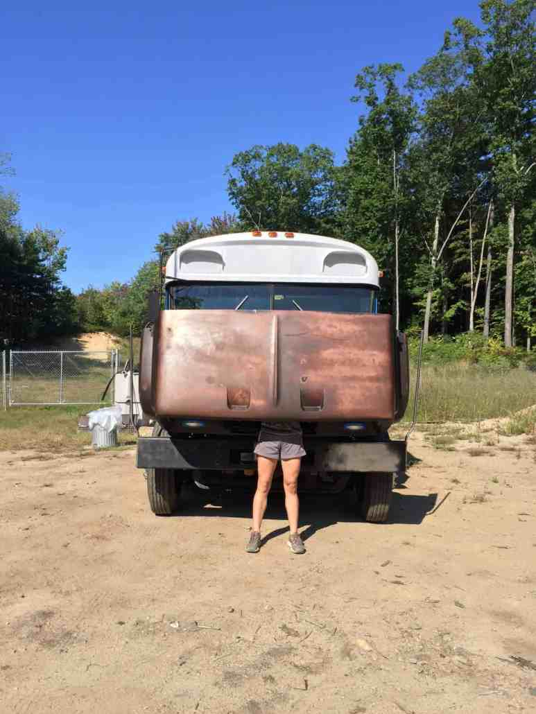 bus conversion body work painting tiny home