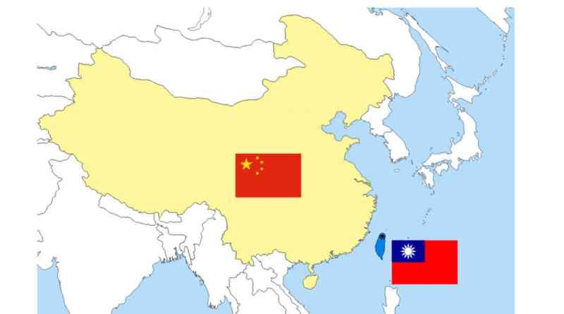 map of China and Taiwan with flags