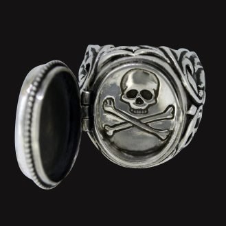 onyx poison ring sterling silver