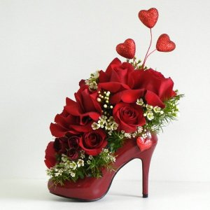 red-flowers-arrangement-in-shoe-for-girl-15
