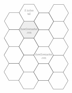Hexagon templates for sewing a hexie quilt – 2 inch, 2 1/2 inch.