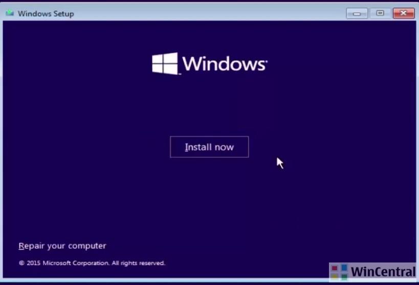Windows 10 Install screen