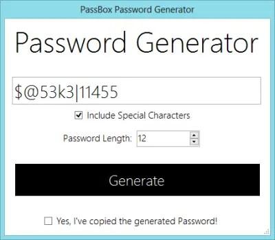 Generator 400x350 PassBox : Free Password Manager & Generator for Windows 8 | 7