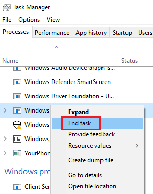 End the Windows Patch Service task
