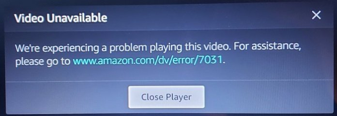 Amazon PrimeVideo Error Code 7031