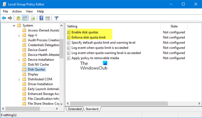 enable Disk Quota in Windows 10