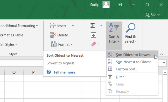 How to sort data by date in Microsoft Excel and Excel Online