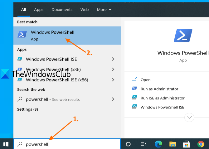 open powershell window