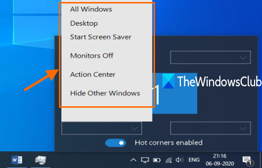 use drop down menu to set an action for a corner