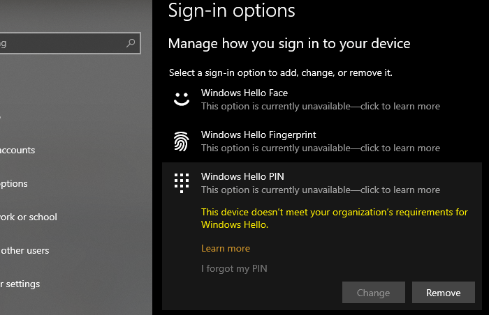 This device doesn't meet your organization's requirements for Windows Hello