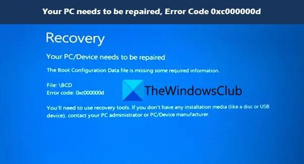 Máy tính của bạn cần được sửa chữa, Mã lỗi 0xc000000d