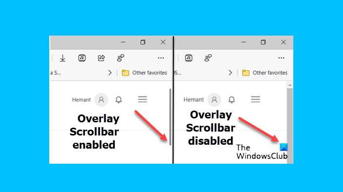 Turn on or off the overlay scroll bar in Microsoft Edge