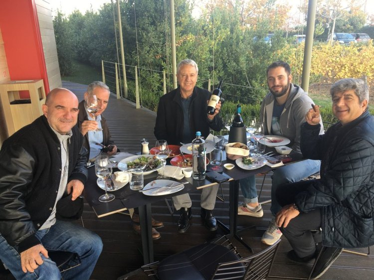 Lunch on the patio with Vangelis and Argyris Gerovassiliou, Thrass Giantsidis and friends