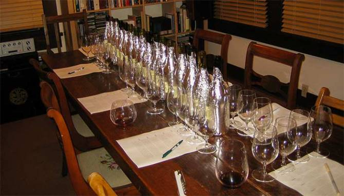sommelier setup for wine tasting