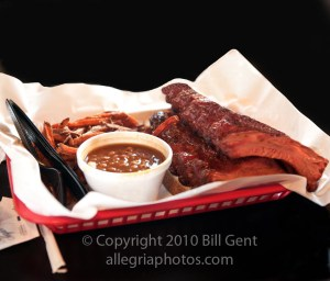 A basket of ribs and beans at Pappy's Smokehouse, St Louis