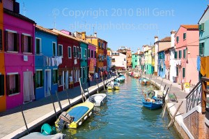 The brightly colored houses in Burano, Venice, Italy