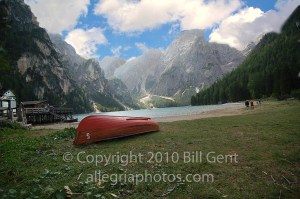 A rowboat on the shores of Lago di Braies, Dolomites, Italy