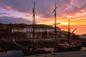 Sunrise over Charlestown Harbor, Cornwall