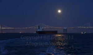 Bay Bridge at night under a full moon
