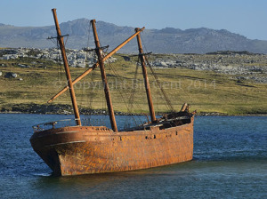 The rusting hull of the Lady Elizabeth