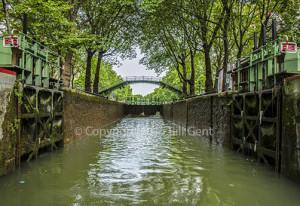 Entering the lock, Canal de St. Martin, Paris