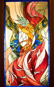 Stained glass of the phoenix