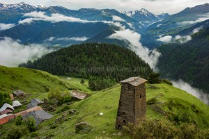 One of the five towers of Omalo, Tusheti