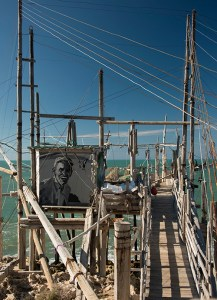 A portrait of Mimi above the Trabucco that bears his name.
