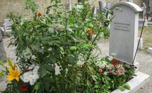 Flowers fill grave of US Poet Laureate, Joseph Brodsky, Venice