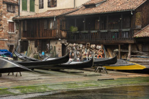 One of the few remaining gondola workshops in Venice.