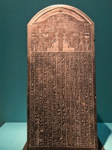 The Stele of Thonis-Heracleion discovered under the Meditarranean in the Bay of Aboukir, Egypt.