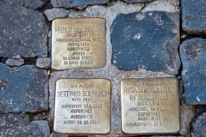 Three stumbling stones in Rome's former Ghetto