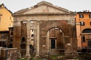 The recently restored Roman Portico d'Ottavia