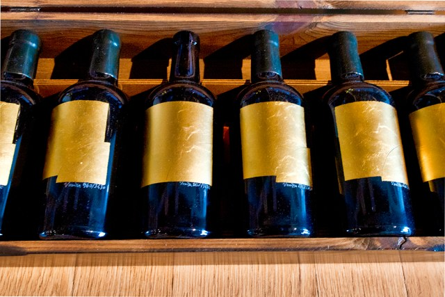 A box of Dorona di Venezia wine bottles