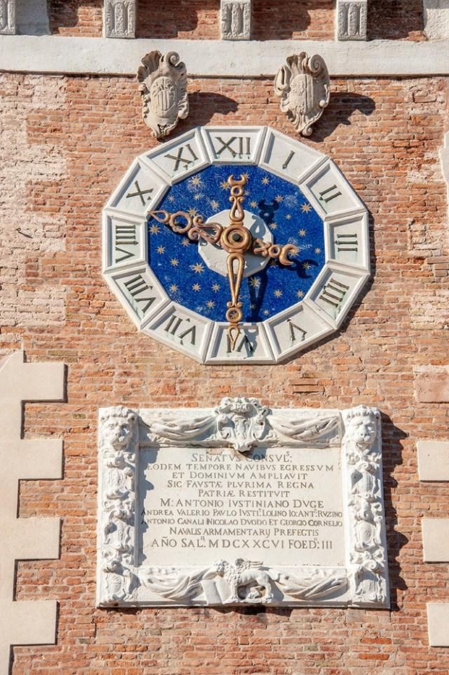 Venice's unique clock face at the Arsenale.