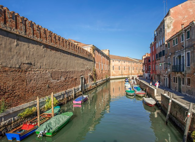 14th century walls surround the Arsenale, Venice