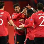 Manchester United's Marcus Rashford celebrate his hat-trick vs RB Leipzig in champions league.