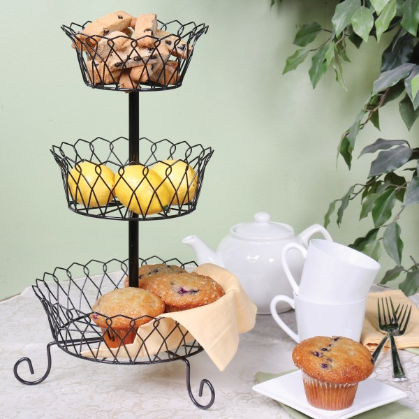 Home District 3 Tier Iron Fruit Basket Stand - Countertop