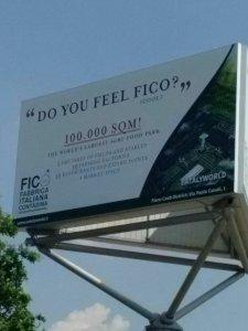 Cartellone pubblicitario all'aeroporto di Bologna - Fico.