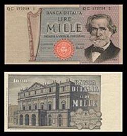 Mille lire con Giuseppe Verdi, emesse tra il 1962 e il 1969.