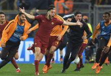 Kostas Manolas esulta al gol del 3-0 che vale la semifinale di Champions League per la Roma. Foto: Getty Images.