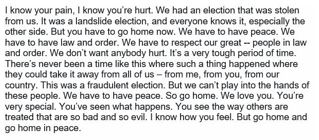Il testo del primo messaggio di Trump.