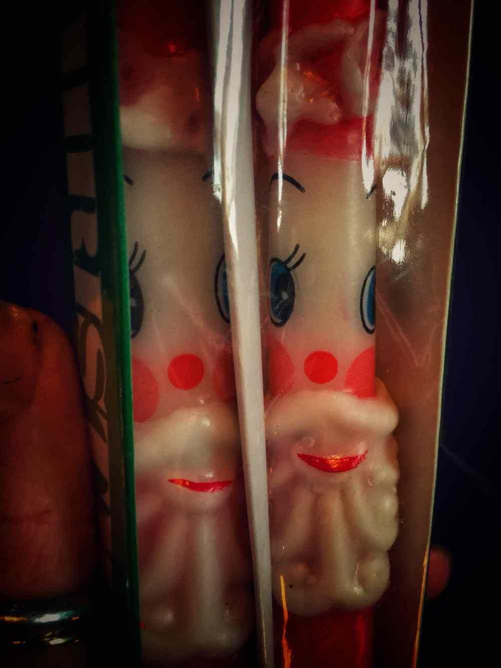 Creepy Santa Taper Candle Vintage