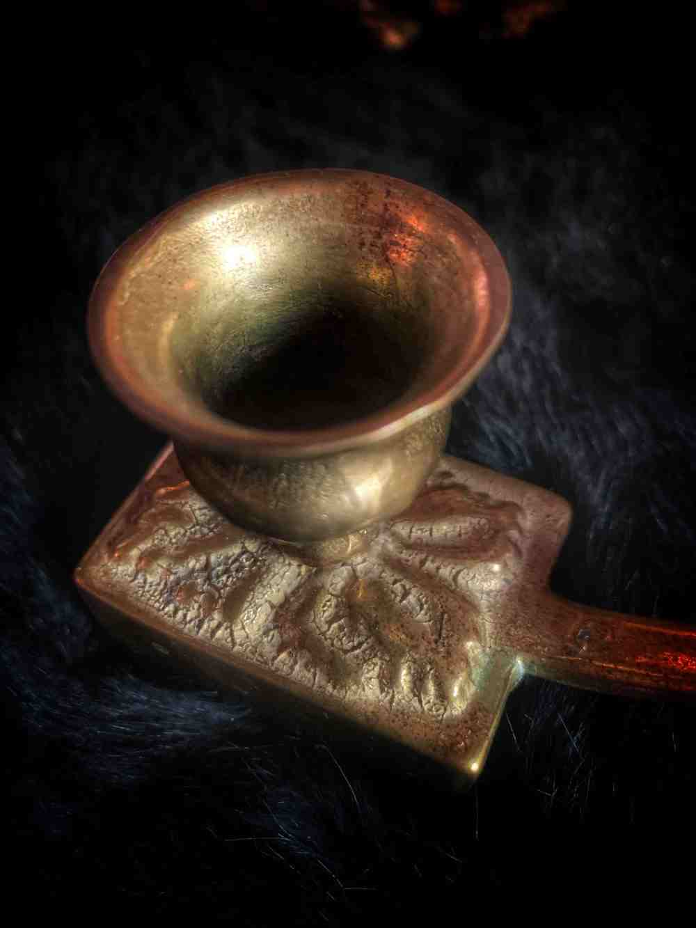 Brass Chamberstick Candle & Match Holder Vintage